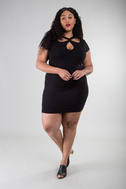Plus Size Front Cut Out Short Sleeve Mini Dress