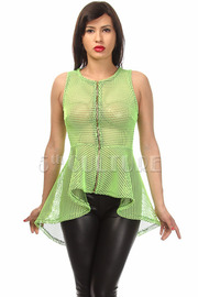 Fish Net Front Zipper Peplum Top