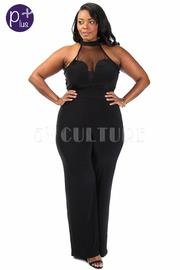 Plus Size Mesh Insert Solid Halter Top Wide Leg Jumper