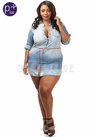Plus Size Washed Out Belted Mini Denim Dress