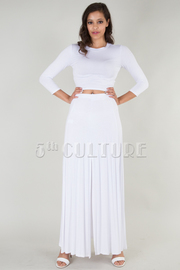 Solid Crop Top With High Slit Maxi Skirt Set