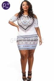 Plus Size Off The Shoulder Printed Mini Dress