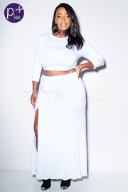 Plus Size Solid Crop Top With High Slit Skirt Set