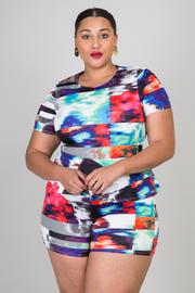 Plus Size Printed Short Sleeve Romper