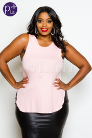Plus Size Sleeveless Solid Top