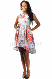 Flower Print Open Back A-line Knee Legth Dress