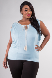 Plus Size Front Tie Solid Drape Sleeve Top