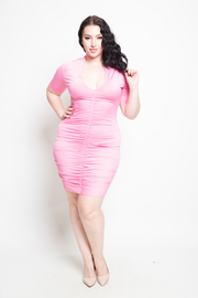 Plus Size Short Sleeve Center Ruched Solid Mini Dress