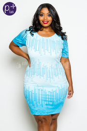 Plus Size Short Sleeve Ombre Detail Mini Dress