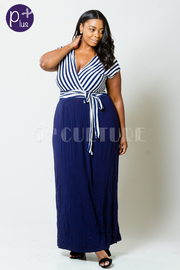 Plus Size Short Sleeve Stripe Waist Tie Maxi Dress