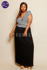Plus Size Short Sleeve Stripe Waist Tie Maxi Dress