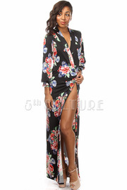 Flower Print Long Sleeve High Side Slit Maxi Dress