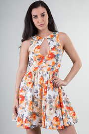 Front Peep Hole Flower Print A-line Mini Dress
