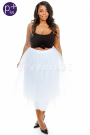 Plus Size Tulle A-line Midi Skirt