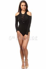 Long Sleeve Open Shoulder Tie Up Solid Bodysuit