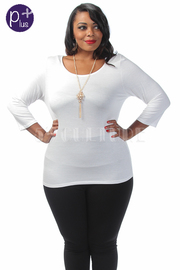 Plus Size Cross Back Solid Top With Necklace