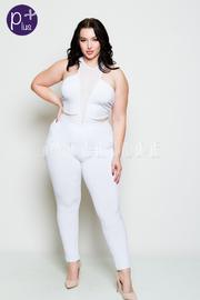 Plus Size Mesh Insert Bodysuit With Matching Leggings Set