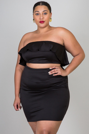 Plus Size Ruffle Solid Bandeau Top With Pencil Skirt Set