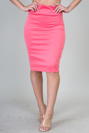 Solid Knee Legth Midi Skirt
