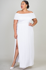 Plus Size Off The Shoulder Side Slit Solid Maxi Dress