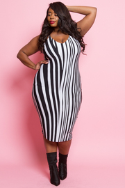 Plus Size Geometric Stripe Print Midi Dress