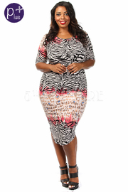 Plus Size Multi Printed Short Sleeve Midi Dress