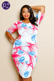Plus Size Multi Floral Printed  Midi Dress