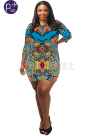 Plus Size Printed 3/4 Sleeve Bodycon Dress