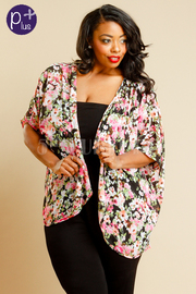 Plus Size Floral Print Kimono