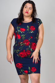 Plus Size Flower Print Short Sleeve Mini Dress