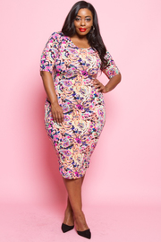 Plus Size Multi Flower Printed Midi Dress