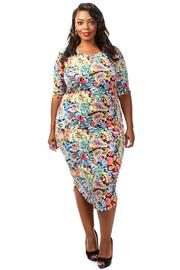 Plus Size Multi Flower Printed Midi Dress