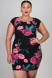 Plus Size Floral Printed Short Sleeve Bodycon Dress