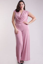V-Cut Solid Draped Jumpsuit
