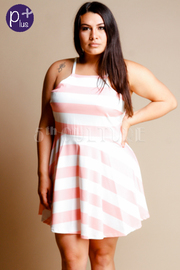 Plus Size Stripe Flare Dress