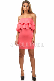 Strapless Double Ruffle Solid Mini Dress