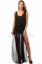 Sleeveless Chiffon Solid Maxi Dress