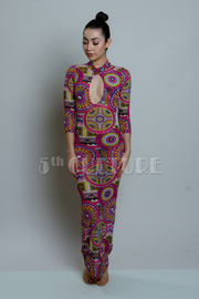 Long Sleeve Sublimation Mesh Maxi Dress