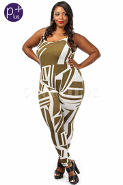 Plus Size Geometric Printed Sleeveless Jumpsuit