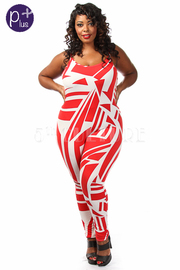 Plus Size Geometric Printed Sleeveless Jumpsuit