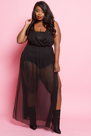 Plus Size Sleeveless maxi with slits