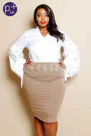 Plus Size Solid Midi Skirt