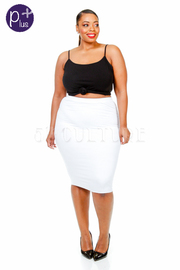 Plus Size Solid Midi Skirt