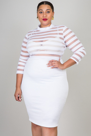 Plus Size Stripe Mesh Insert Midi Dress