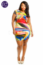 Plus Size Short Sleeve Print Dress