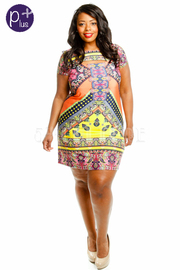 Plus Size Tribal Print Scoop Neck Dress