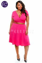 Plus Size 2 Piece Set Front Tie Top A line Skirt