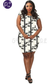 Plus Size Bamboo Trees and Leaves Printed Bodycon Dress