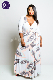 Plus Size Printed 3/4 Sleeve Maxi Wrap Dress
