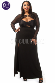Plus Size Long Sleeve Mesh Open Front Dress